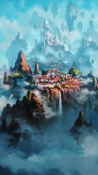 anime fantasy iphone town illustration liang xing cloud wallpapers hd painting samsung plus disney papers oil app