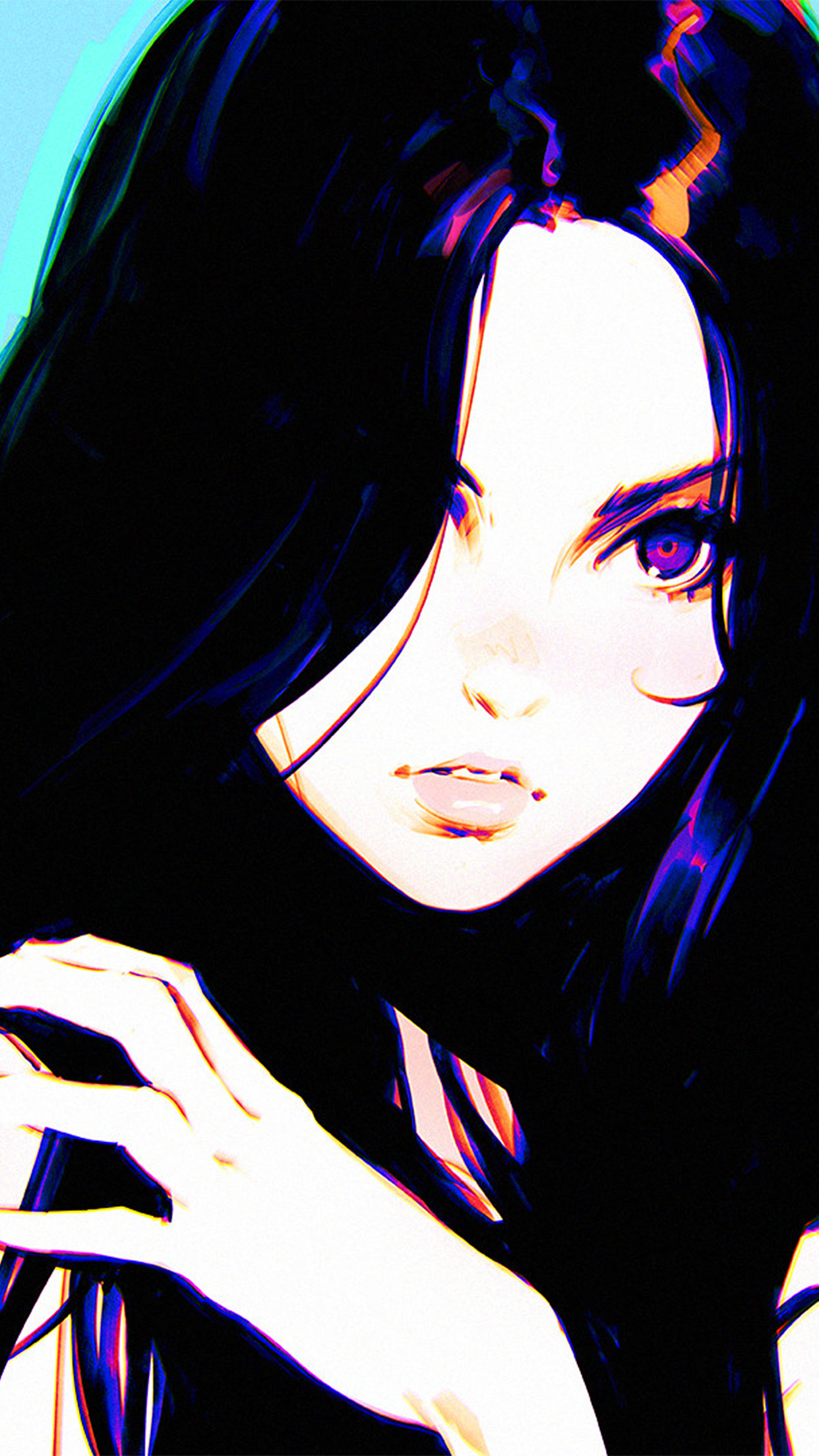 Cute Girl Wallpapers For Iphone Av69 Girl Ilya Kuvshinov Blue Illustration Art Wallpaper