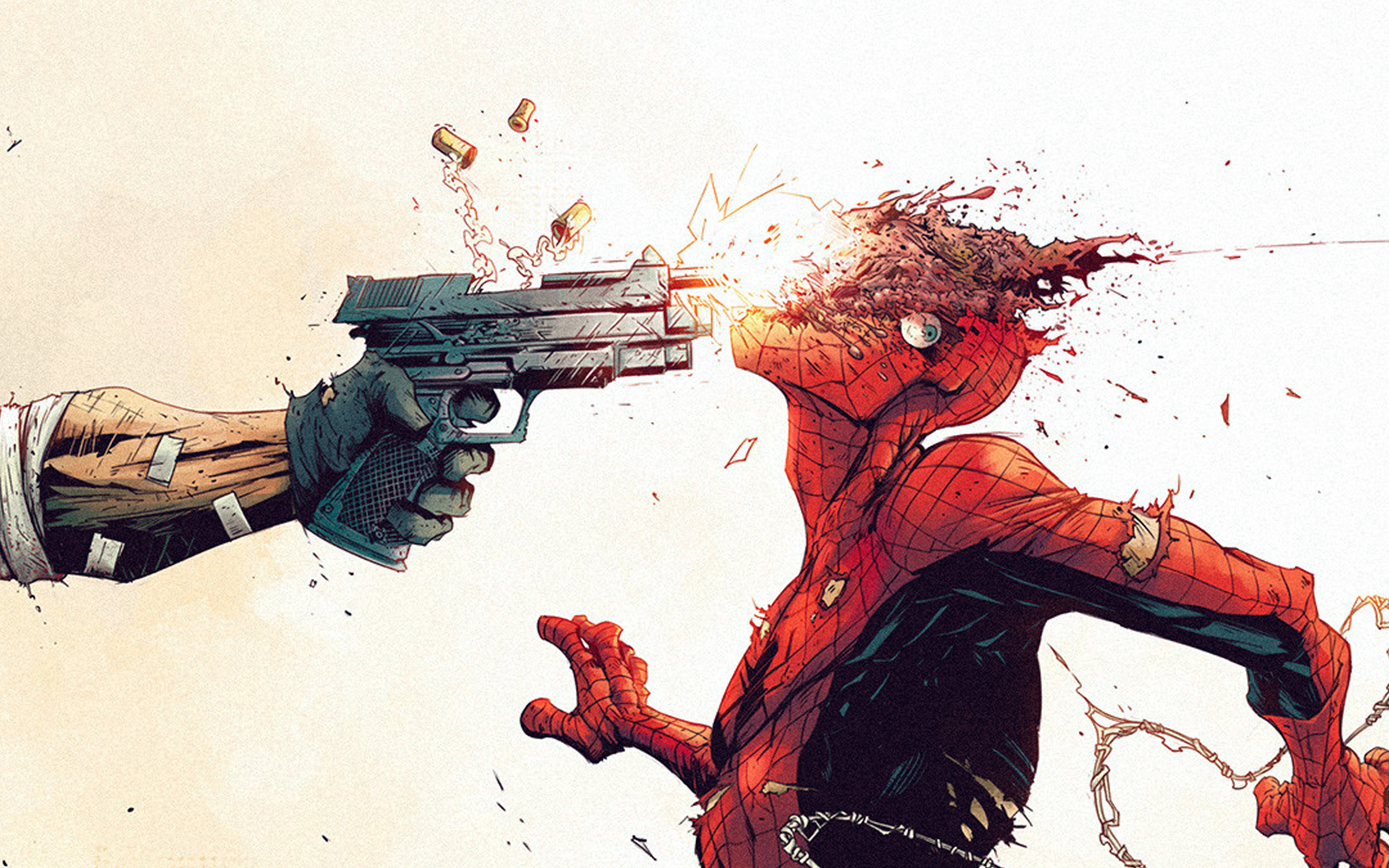 Pc Cartoon Fall Wallpapers Aw51 Punisher Spiderman Tonton Revolver Illustration Art
