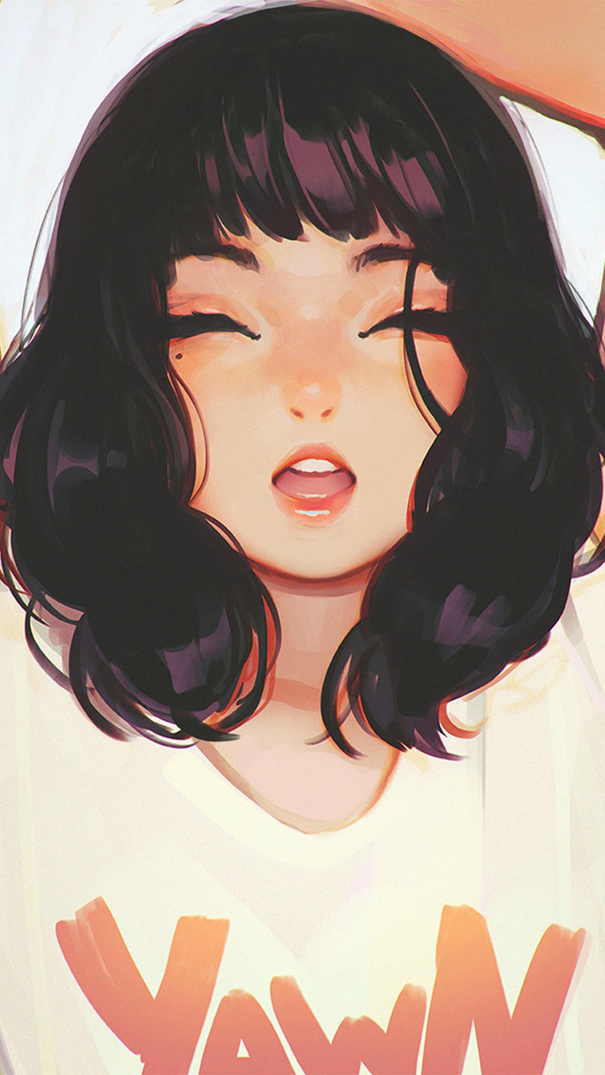 Anime Wallpaper Girls Hair Short Black Eyes Brown Ax04 Girl Smile Ilya Kuvshinov Illustration Art Wallpaper