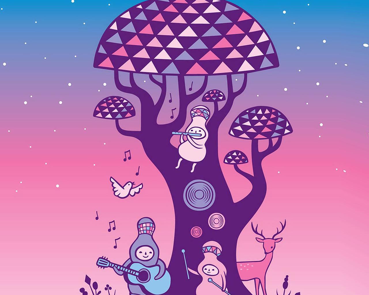 Fall Coffee Wallpaper Samsung 4 Ax17 Cute Music Characters Illustration Art Wallpaper