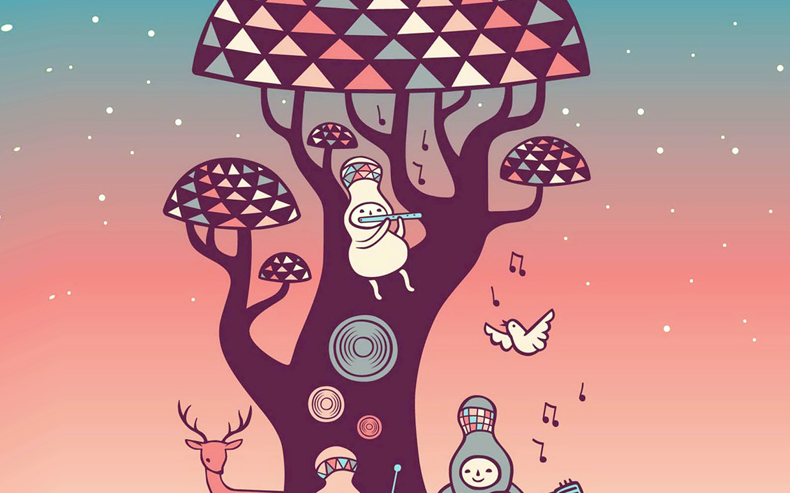 Cute Animal Wallpaper For Computer Ax18 Cute Music Characters Illustration Art Red Wallpaper