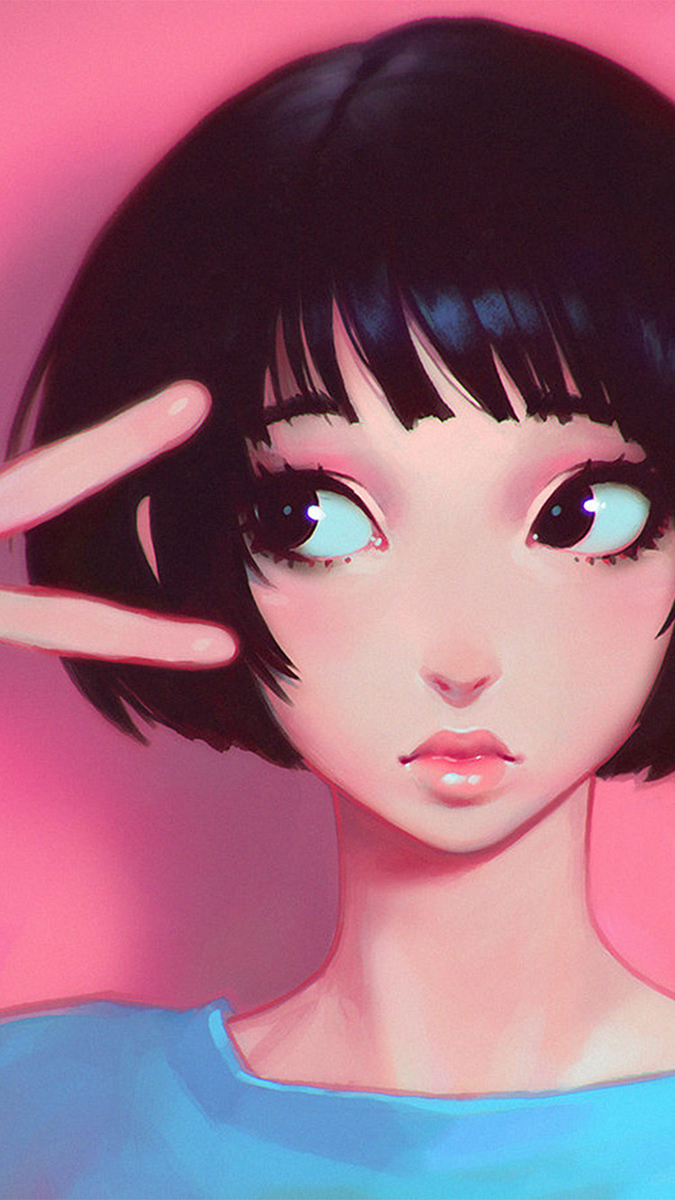Batman Iphone 6 Wallpaper Ay03 Ilya Kuvshinov Pink Girl Illustration Art Wallpaper