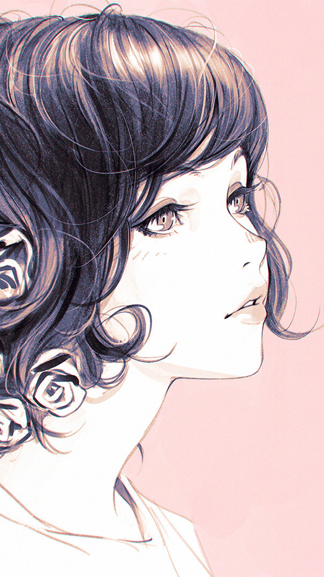 Cute Pink Wallpaper For Iphone 6 Plus Az01 Girl Flower Lady Pink Ilya Kuvshinov Illustration Art