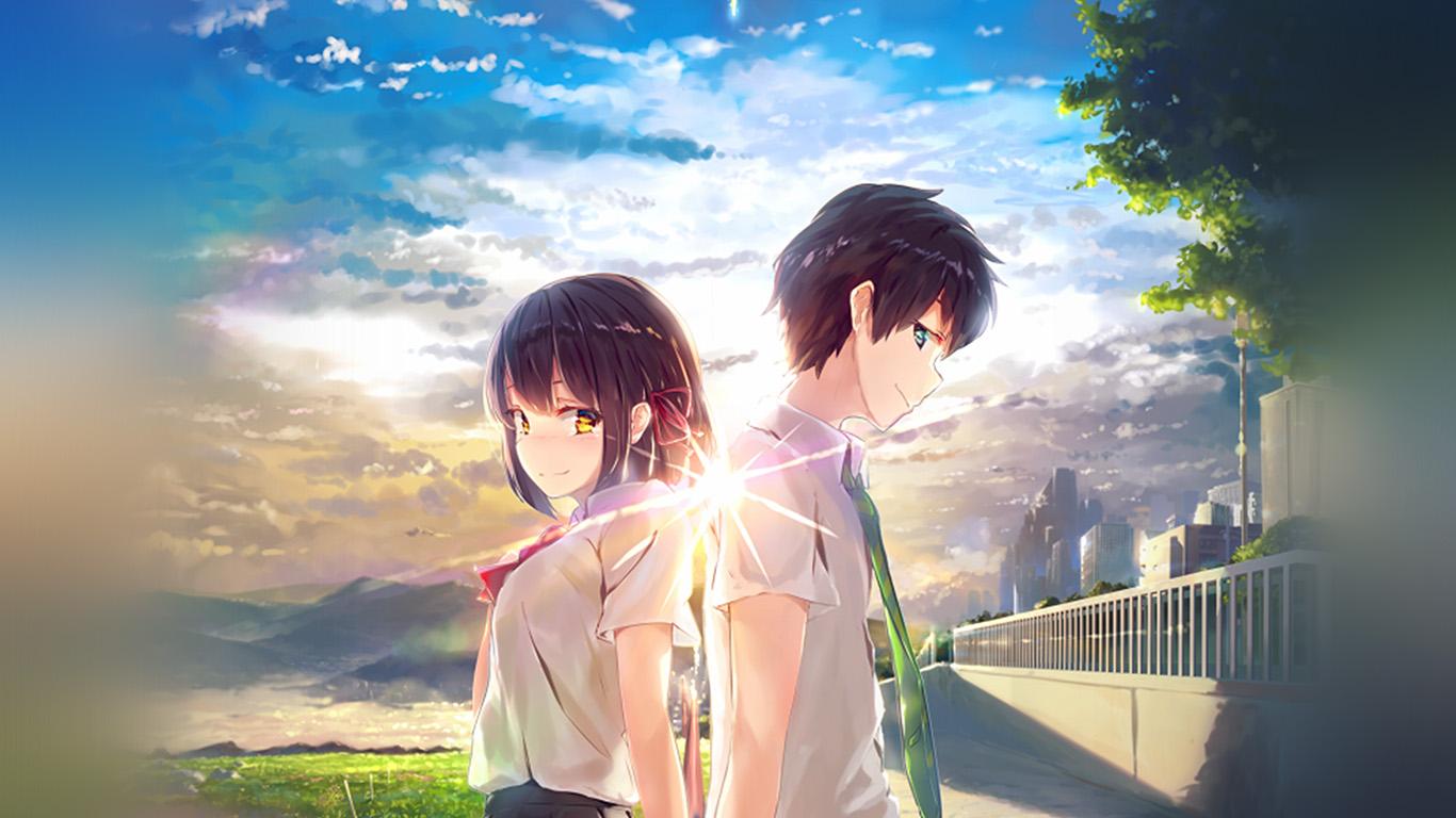 Phone Wallpaper Boy And Girl Sunset Anime Az03 Anime Yourname Sky Illustration Art Wallpaper