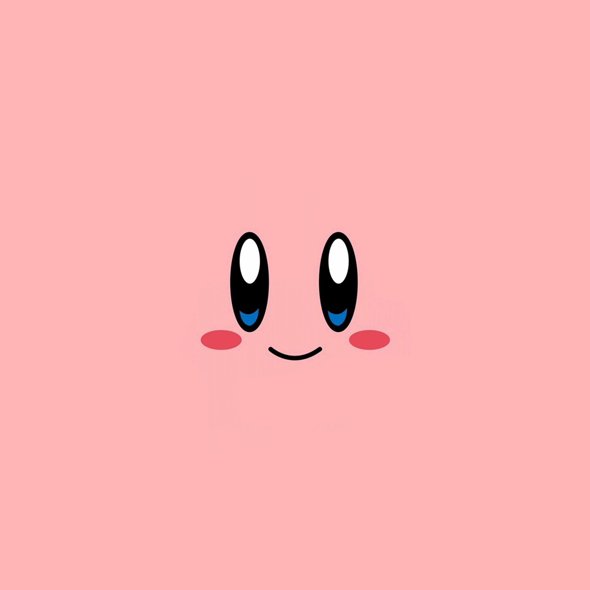 Wallpaper Cartoon Cute Pink Az54 Kirby Pink Face Cute Illustration Art Wallpaper