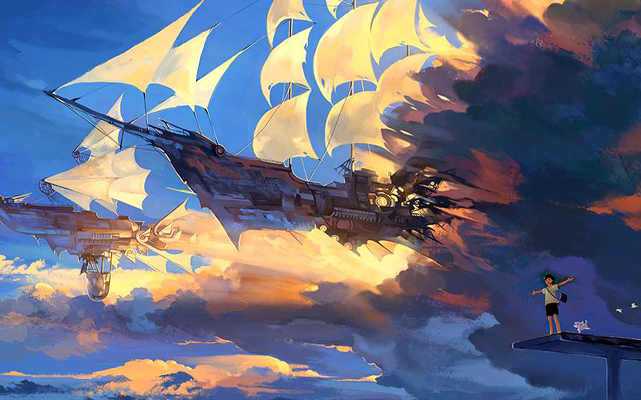 Disney Fall Desktop Wallpaper Az67 Fly Ship Anime Illustration Art Wallpaper