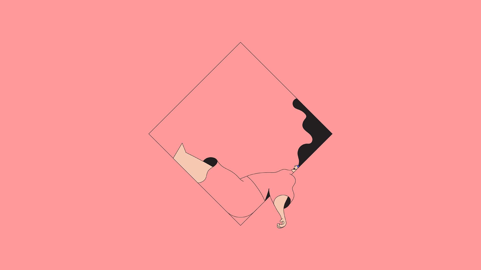 Pink Cute Wallpaper For Iphone Bb08 Minimal Drawing Pink Illustration Art Wallpaper