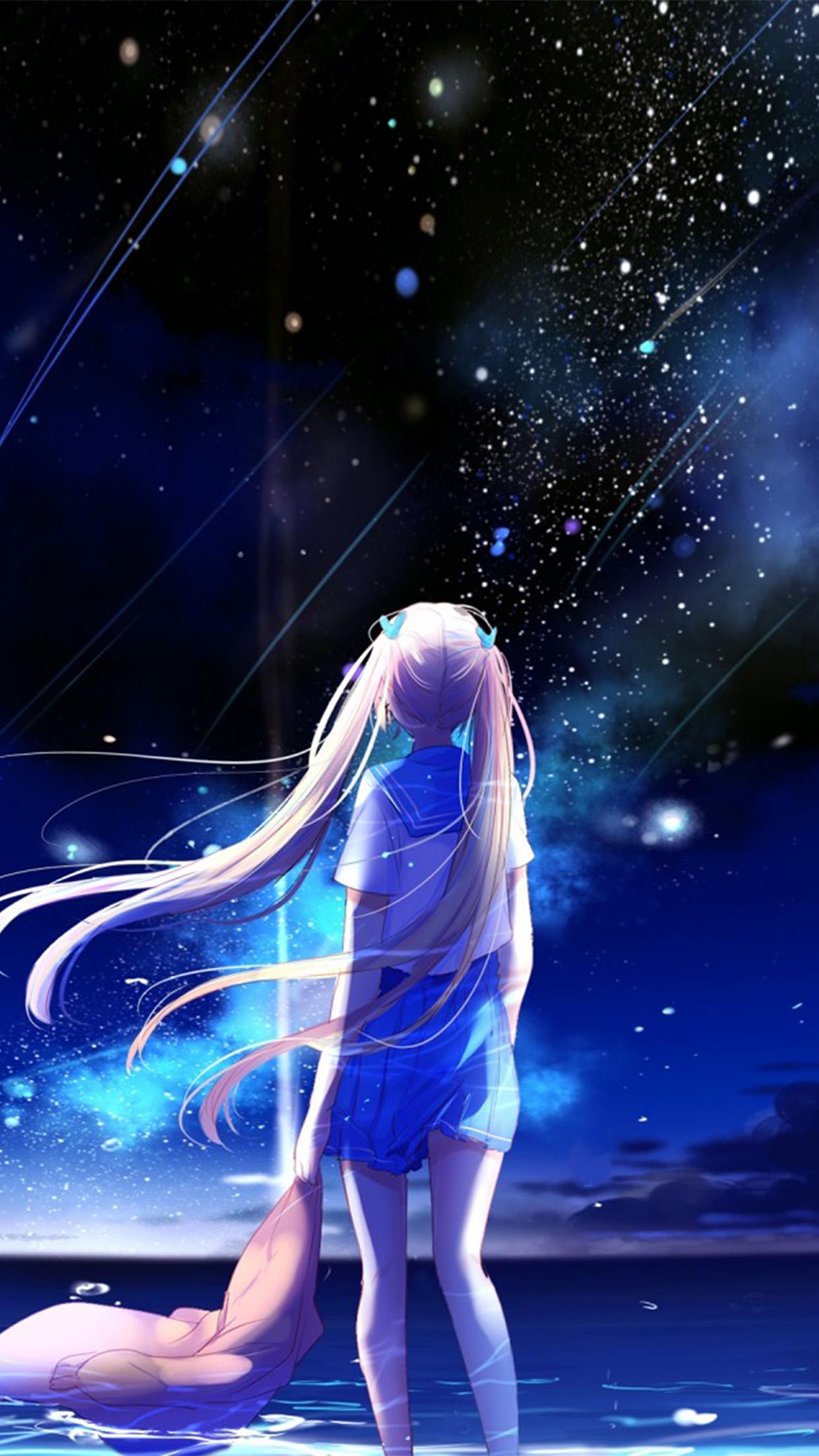 Fall Romance Wallpaper Bc64 Anime Night Space Star Art Illustration Wallpaper