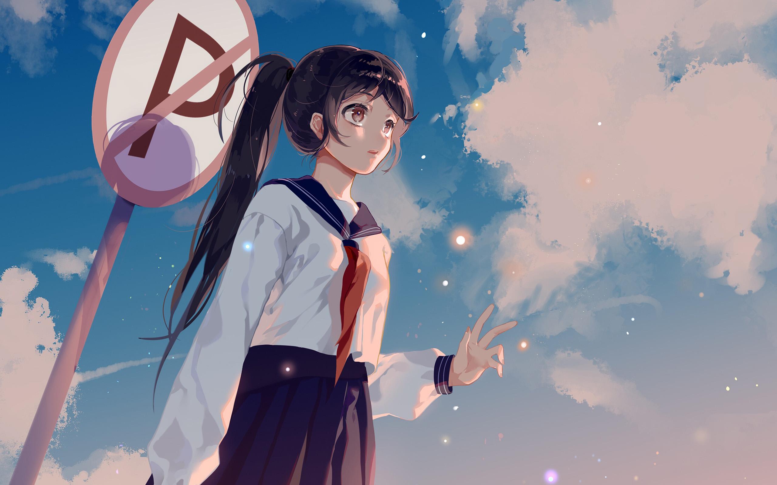 Phone Wallpaper Boy And Girl Sunset Anime Bc66 Girl School Girl Anime Sky Cloud Star Art