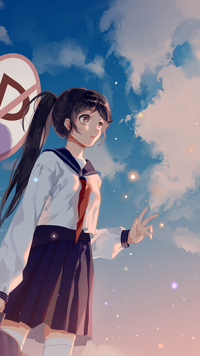Anime Wallpaper Iphone X Bc66 Girl School Girl Anime Sky Cloud Star Art