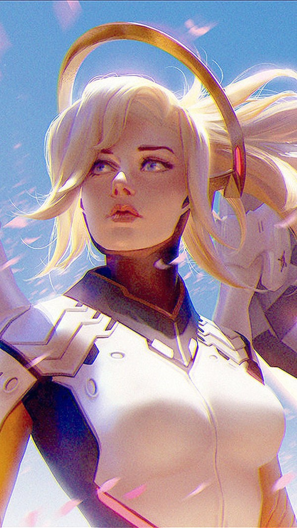 Bc96-anime-game-overwatch-merci-girl-art-illustration
