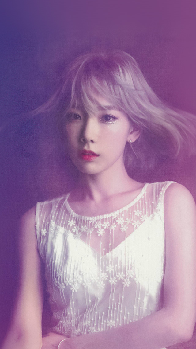 Wallpaper Background Cute Pink Hk82 Taeyeon Snsd Kpop Girl Purple Pink Wallpaper