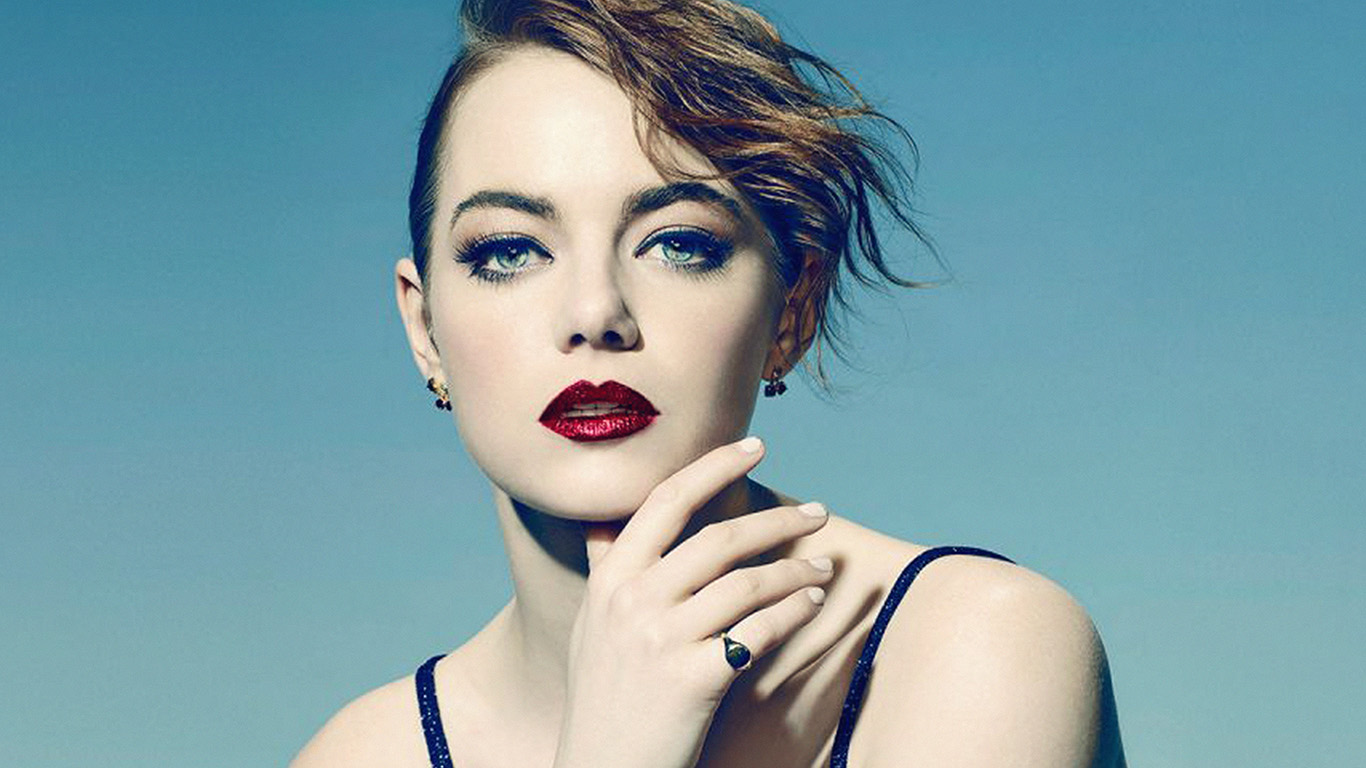 Cute Lips Hd Wallpapers Hl74 Emma Stone Blue Red Lips Girl Actress Wallpaper