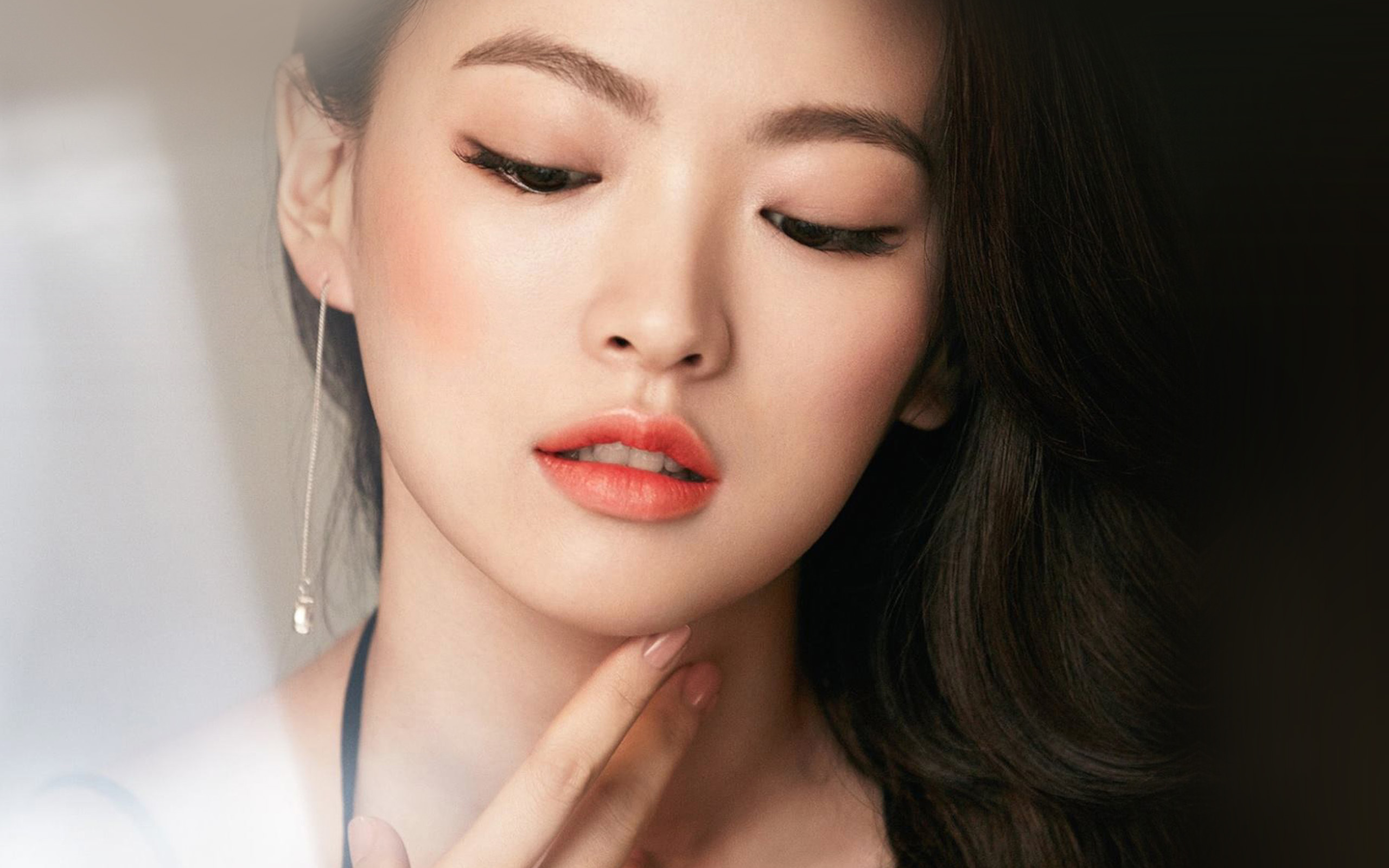 Beautiful Girl Face Hd Desktop Wallpaper Hn65 Asian Girl Face Dark Dress Wallpaper