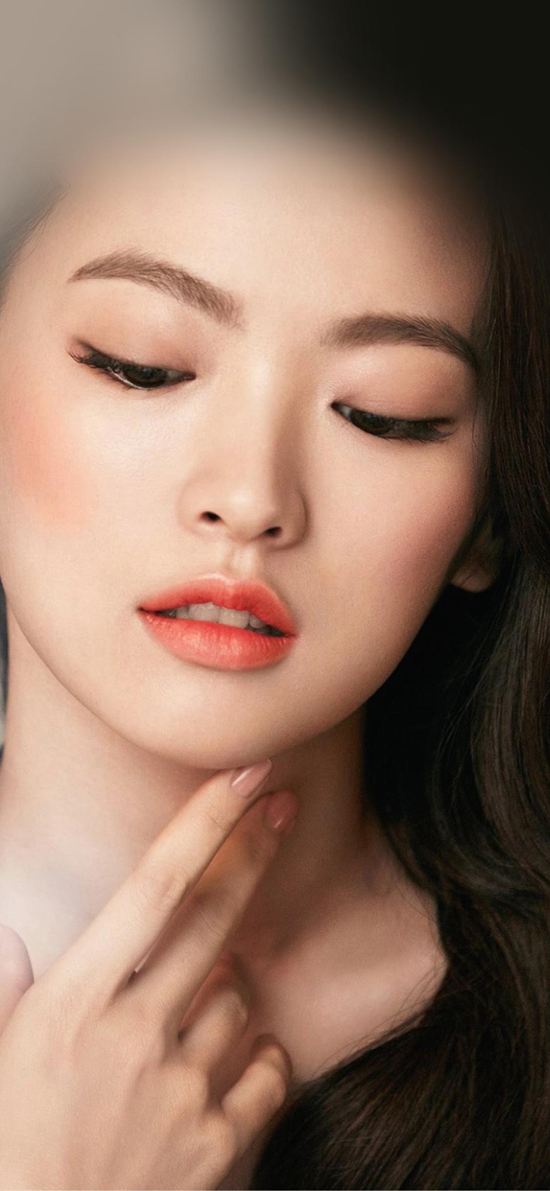 Butterfly Girl Hd Wallpaper Hn65 Asian Girl Face Dark Dress Wallpaper