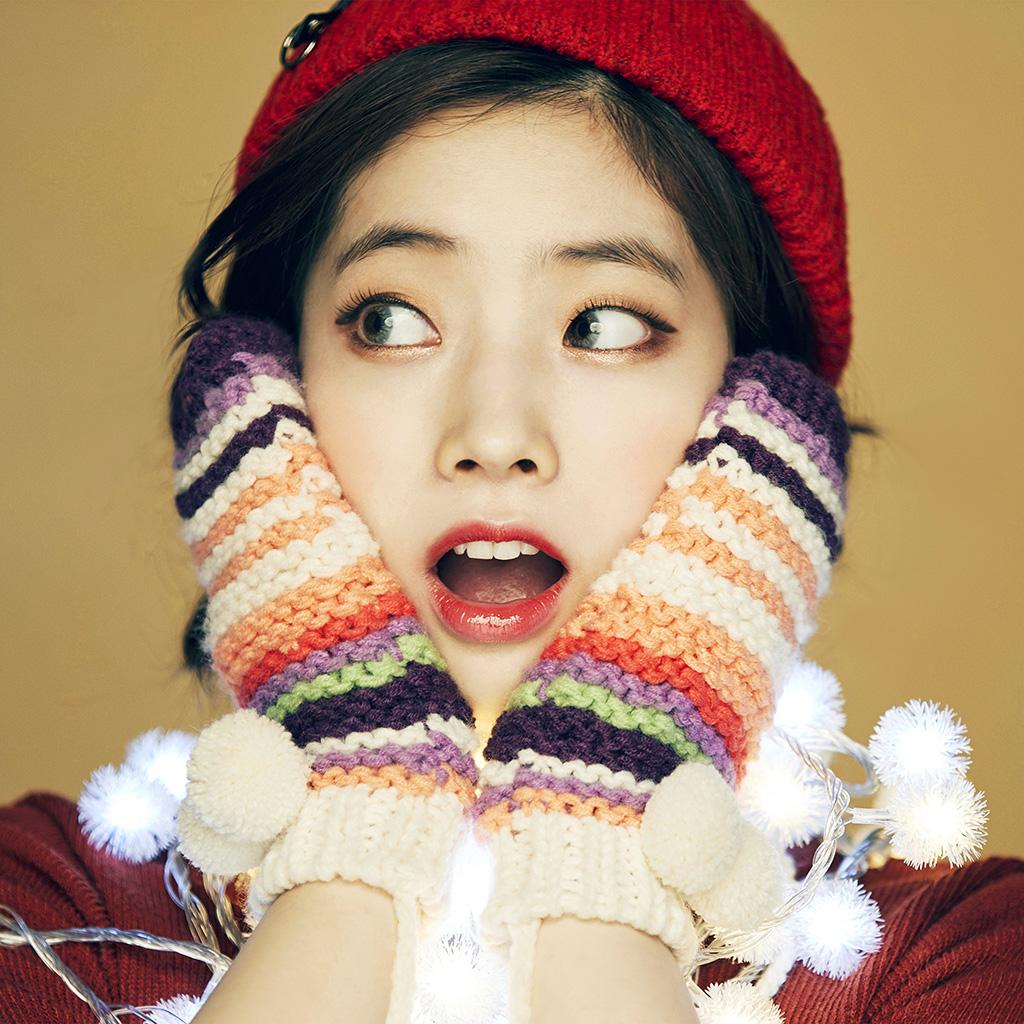 Cute Girly Iphone 6 Wallpaper Hp21 Girl Cute Surprise Kpop Winter Asian Wallpaper