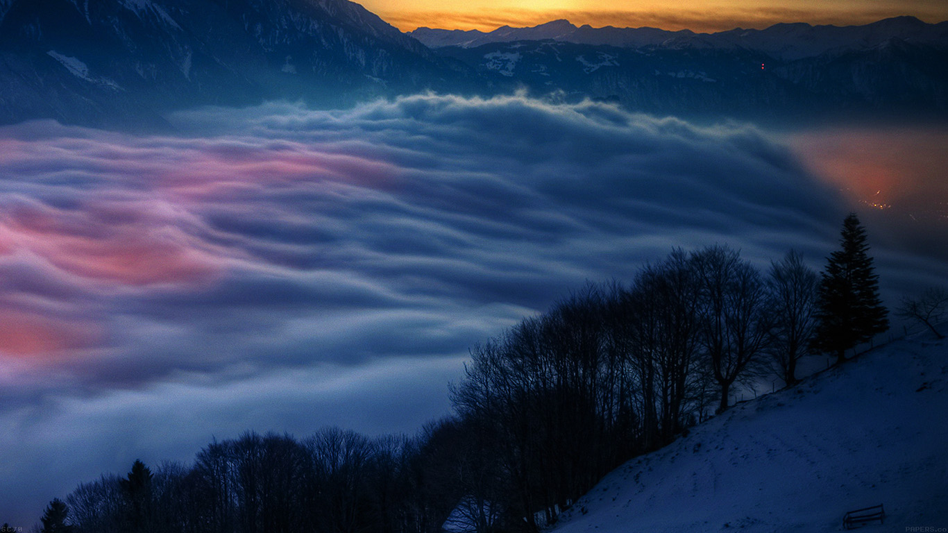 Winter Cute Wallpaper Mh63 Smoky Foggy Mountain Sunrise From Sky Nature Papers Co