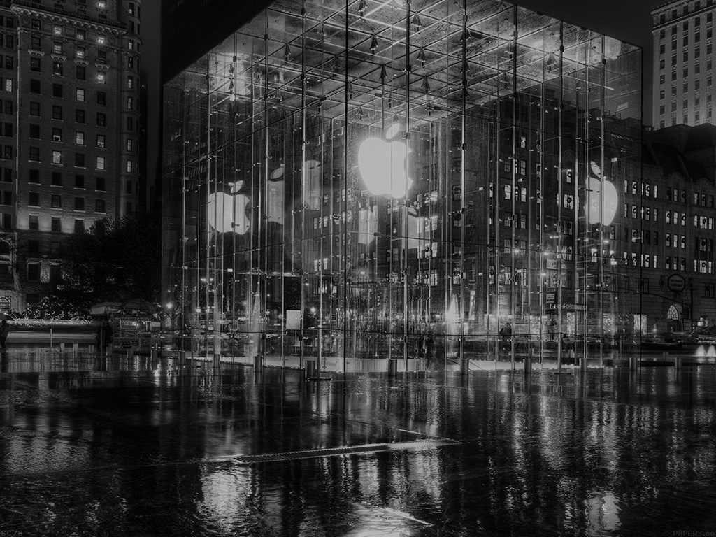 Hd Iphone Wallpapers Fall Mh74 Raining Apple Store Newyork At Night Dark Papers Co