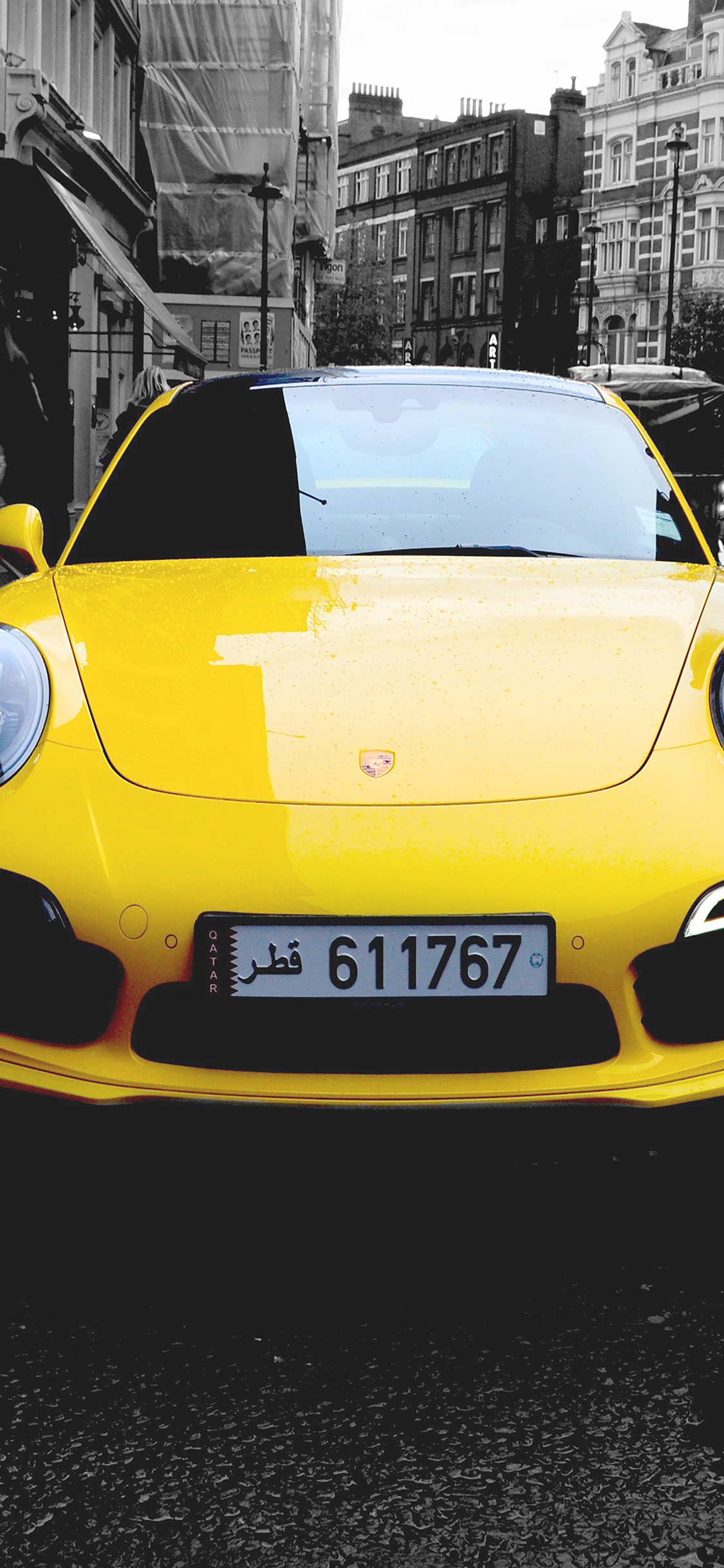 Here's how to make a live wallpaper on iphone and android. Mk71 Porche Street Car City Bw Yellow Papers Co