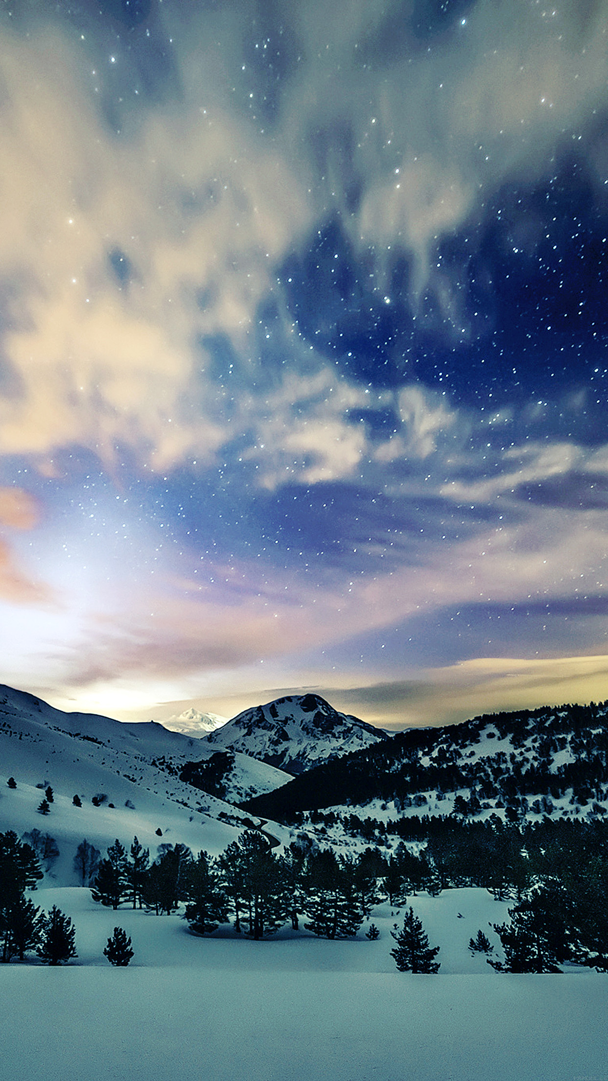 Hd Christmas Wallpaper Cute Mk79 Aurora Star Sky Snow Night Mountain Winter Nature
