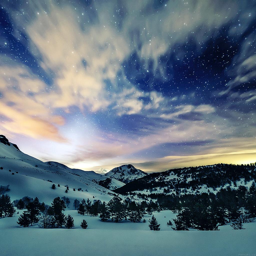 Droid X Girl Wallpaper Mk79 Aurora Star Sky Snow Night Mountain Winter Nature