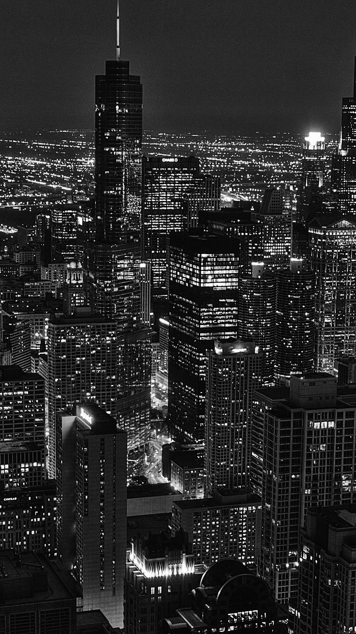 Iphone X Blueprint Wallpaper Ml84 City View Night Dark Bw Wallpaper