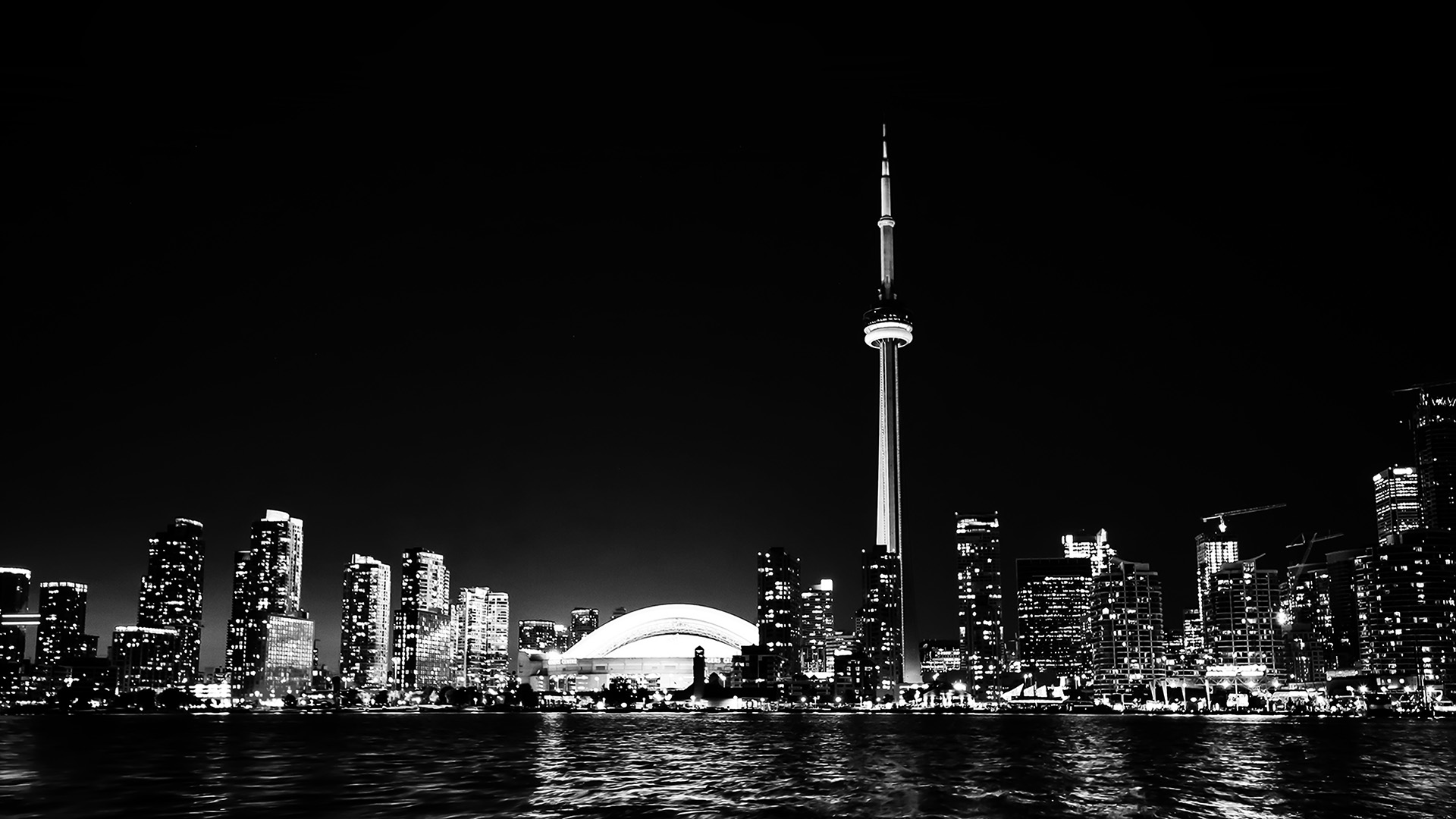 Fall Hd Wallpaper For Mac Mt45 Toronto City Night Missing Tower Dark Cityview Bw