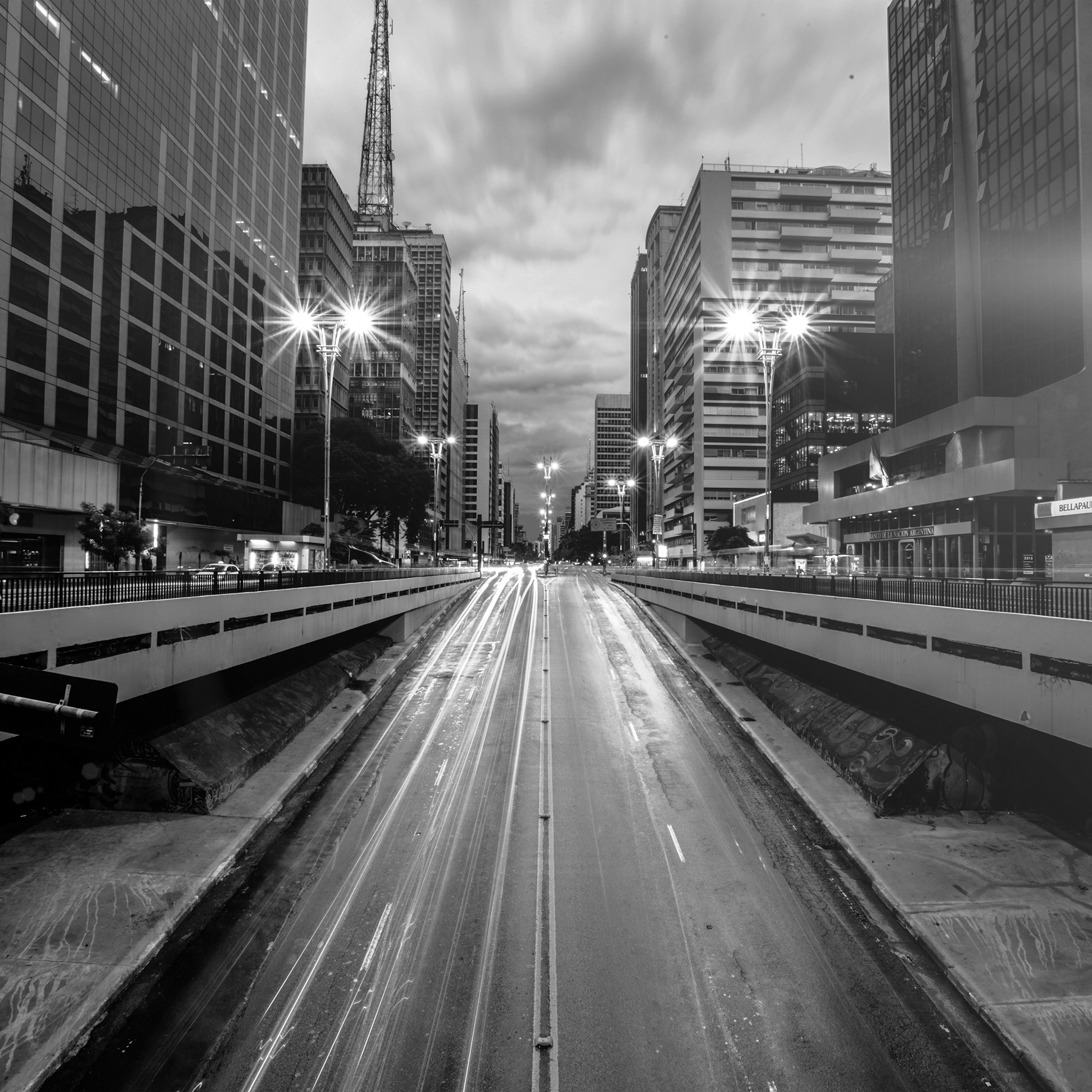 Smartphone Wallpaper Anime Nd21 City Street Light Bw Night Car Wallpaper