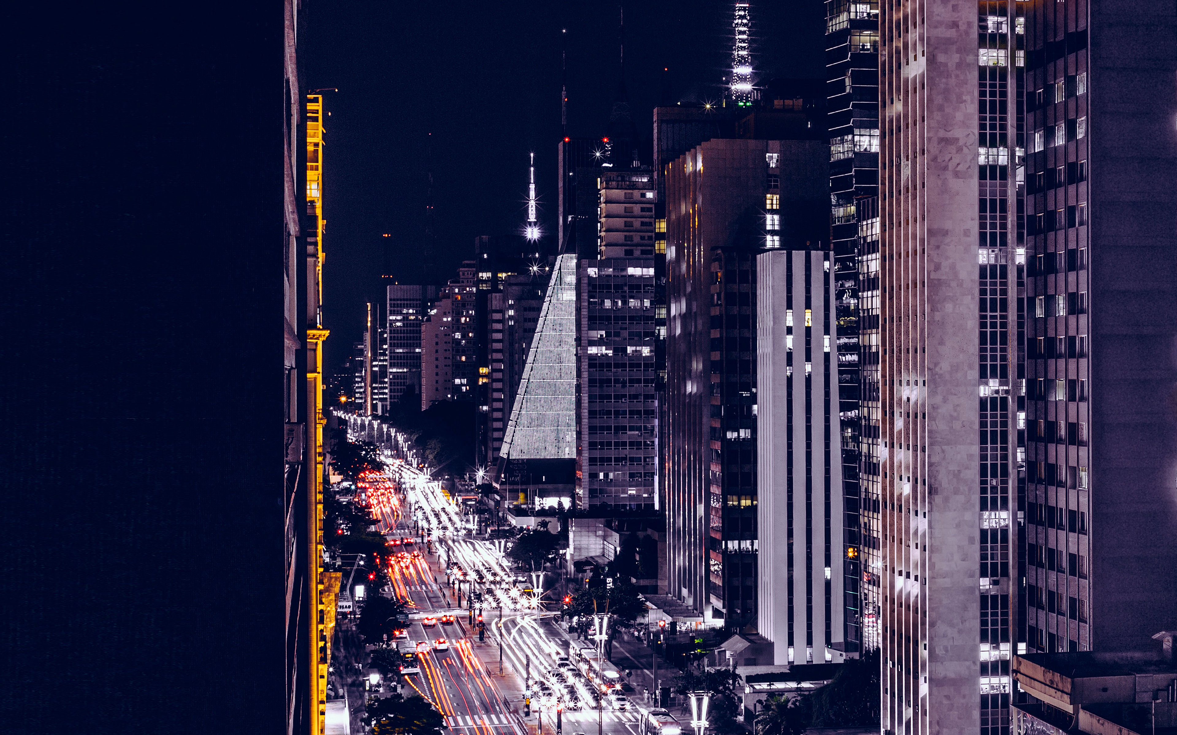 Fall Wallpaper For Macbook Pro Nf06 City Night View Urban Street Blue Wallpaper