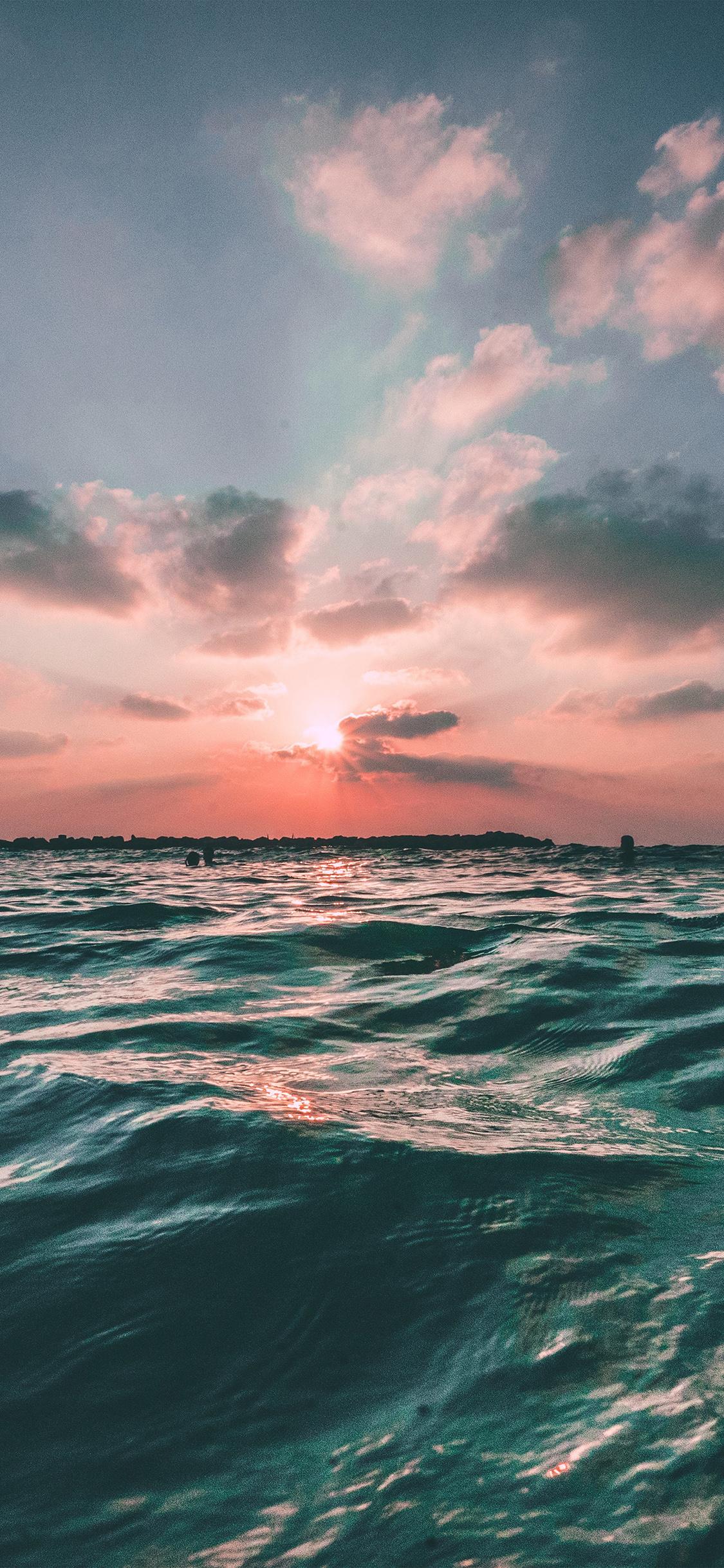 Wallpaper Iphone Pastel Nf43 Sunset Sea Sky Ocean Summer Green Water Nature Wallpaper