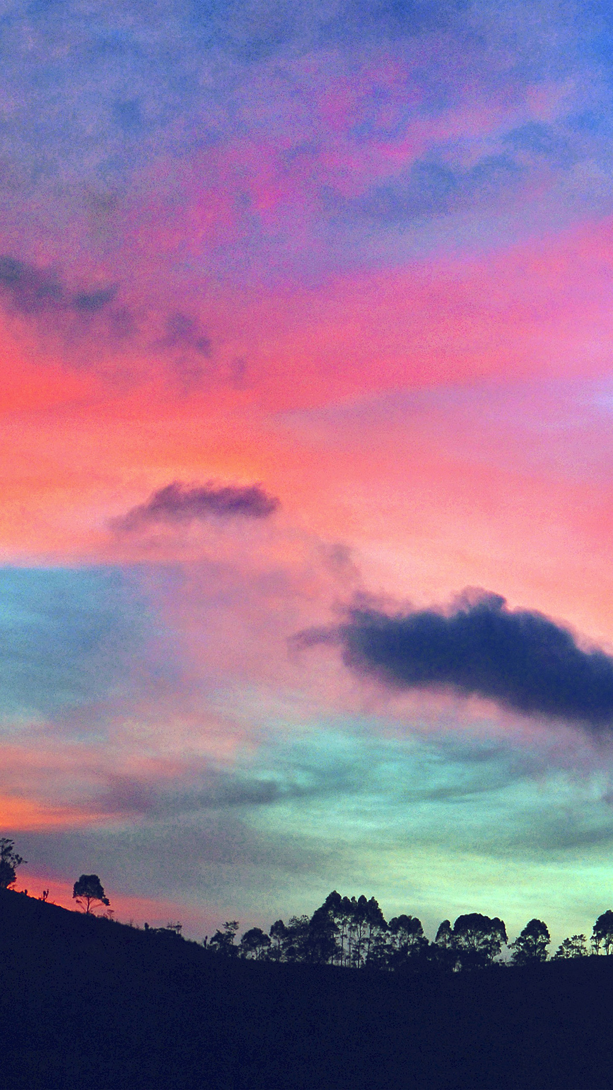 Wallpaper Cute Pink For Iphone 6 Ng96 Sky Rainbow Cloud Sunset Nature Blue Pink Wallpaper