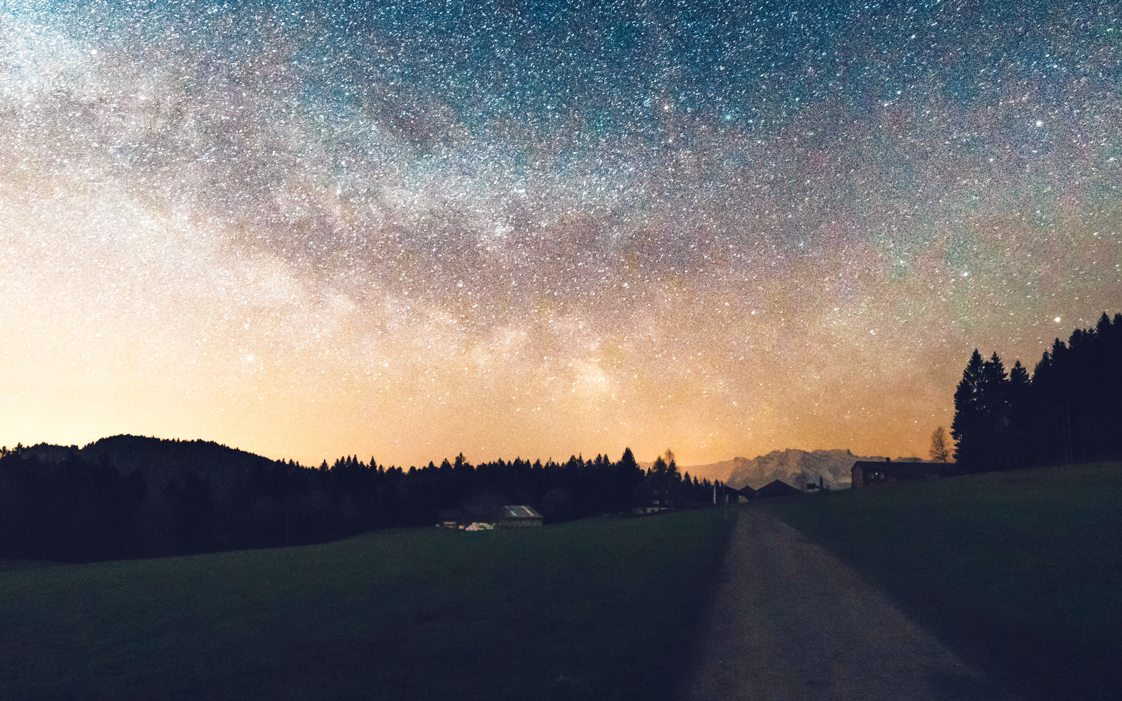 Hd Iphone Wallpapers Fall Nn93 Starry Sky Nature Sunset Mountain Road Wallpaper
