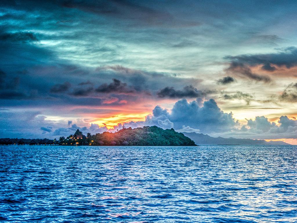 Cute Chromebook Wallpapers Nr34 Borabora Sea Island Sunset Summer Nature Wallpaper
