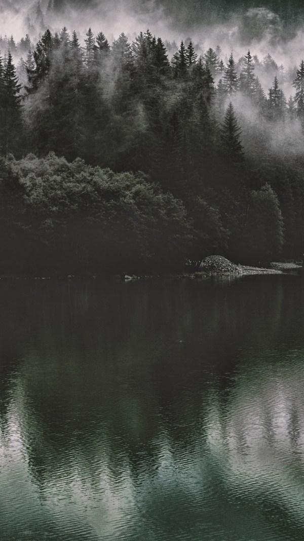 Iphone Wallpaper Nu46-lake-mountain-water-dark-nature