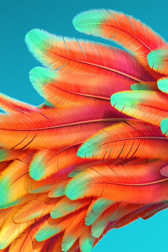 Wallpaper Simple Cute Vz54 Bird Color Rainbow Red Pattern Background Wallpaper