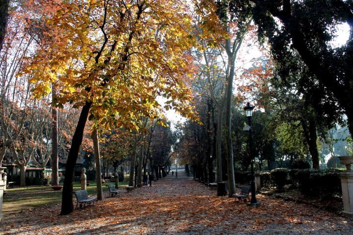 Villa Borghese gardens fall Rome