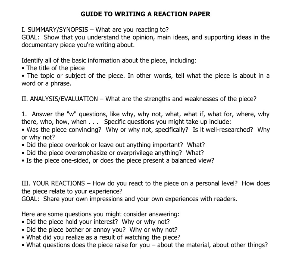Example Of Essay Writing How To Write A Reaction Paper What Is A Reaction Paper Paperstime
