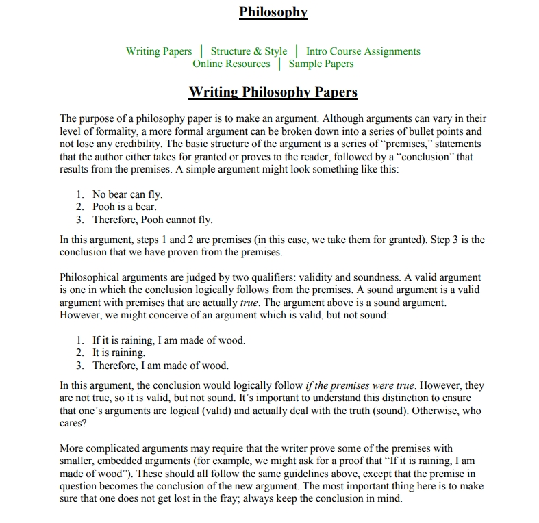 example philosophy essay