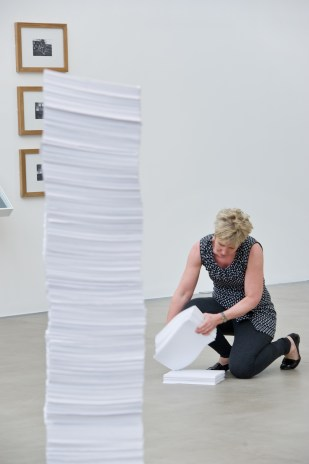 Stack, 2015, installation and performance. 'Milkilling' MFA Graduate show, Baltic 39. Image credit and copyright: Colin Davison