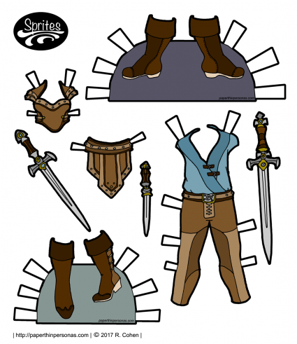 A set of paper doll fantasy armor of the Sprites printable paper doll series inspired by Xena: Warrior Princess and other pulpy fantasy.
