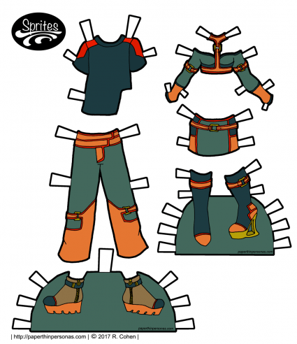 A set of original cyberpunk paper doll clothing designs for the Sprites printable paper doll series from paperthinpersonas.com.