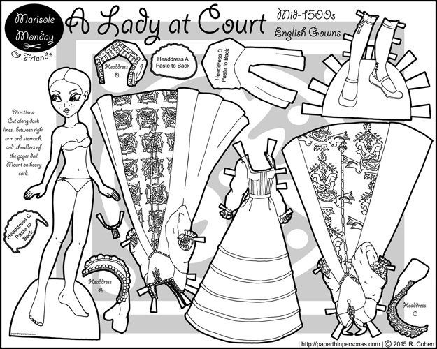 A printable paper doll of Turdor era fashion as a coloring