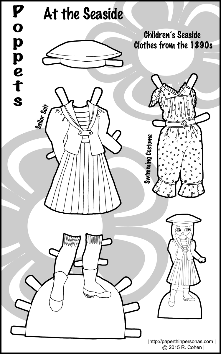 At the Seaside: 1890s Paper Doll Children's Clothes