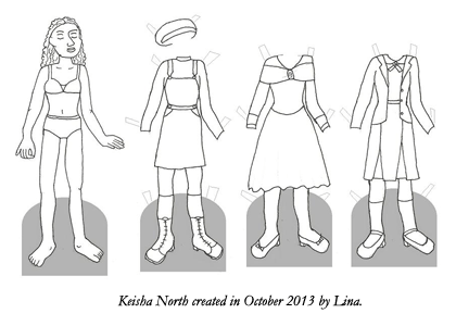 A paper doll page drawn by Lina