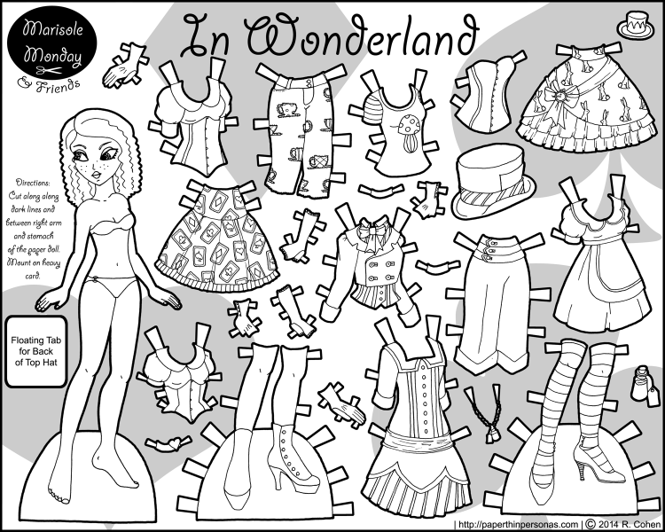An Alice in Wonderland inspired paper doll set with 23 mix and match pieces. Free to print and color from Paperthinpersonas.com