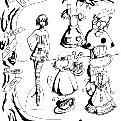 A black and white Alice in Wonderland paper doll.