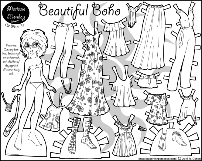 beautiful-boho-contemporary-paper-doll-bw