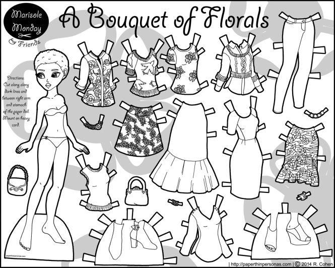 bouquet-of-florals-paper-doll-coloring-page