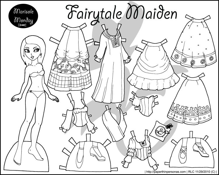 Four Princess Coloring Pages to Print & Dress